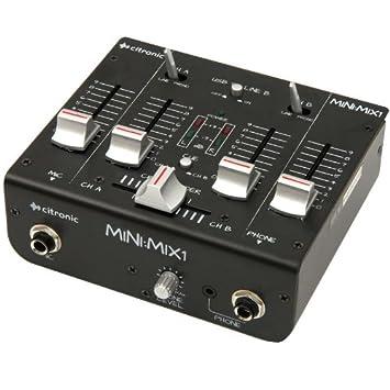 CITRONIC Mini:Mix1 Mesa de Mezclas de 2 Canales (USB, micrófono ...