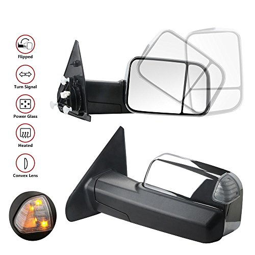 Dodge Ram Chrome Housing - MOSTPLUS New Chrome Housing Power Heated Towing Mirrors for 02-09 Ram Flip Up Left Right Pair w/Turn Signal Light (Set of 2)