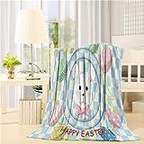 "Flannel Fleece Luxury Throw Blanket Lightweight Happy Easter Theme Easter Bunny Easter Egg Printed Super Soft Cozy All Season Blanket 40""x50"""