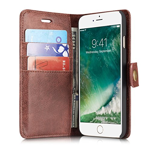 iPhone 7 Case Cover LifeePro [Anti-Scratch] Cowhide Leather Case Flip Wallet Card Slots Cover for iPhone 7 Brick Red