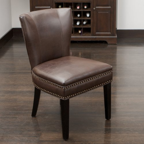 George Dining Chair | Brown Bonded Leather | Wing Back Design | Nail Head Stud Accents | Single Chair - Leather Accent Table