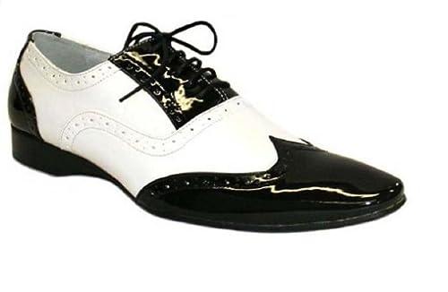 Chaussures Hommes Vernis Bicolore Noir et Blanc