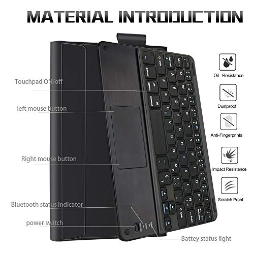 Amazca for Samsung Galaxy Tab S6 10.5 Inch 2019 SM-860/T865 Tablet Bluetooth Keyboard Magnetic Adsorption and Detachable Keyboard with Black Leather Case (Spanish Keyboard)