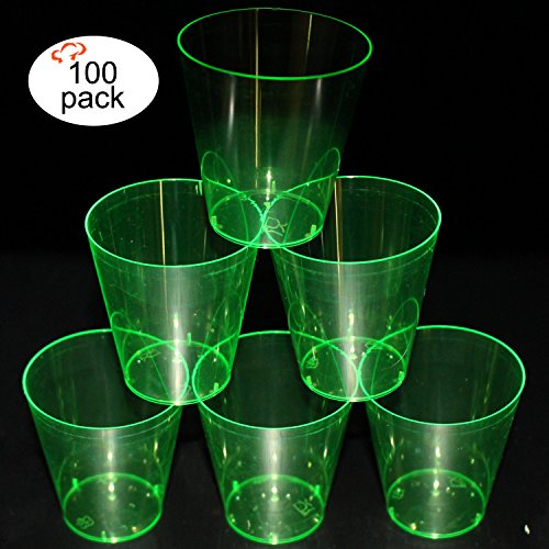 Tiger Chef Hard Plastic 2-Ounce Shot/Shooter Glasses, Wedding Party Bar Shot Glasses, 100-Count Neon Green