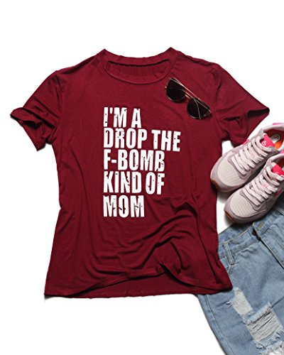 Erxvxp Women Sweatshirts Top Tees T-Shirt Im A Drop The F-Bomb Kind of Mom Letter Printed O-Neck Short Sleeve (Red, X-Large)