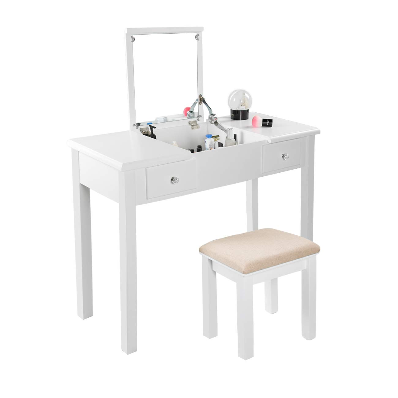 AODAILIHB Vanity Table with Flip Top Mirror Makeup Dressing Table Writing Desk with Cushioning Makeup Stool Set, 2 Drawers 3 Removable Organizers Easy Assembly (White) by AODAILIHB