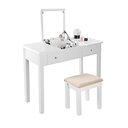 0defa6e415b0b AODAILIHB Vanity Table with Flip Top Mirror Makeup Dressing Table Writing  Desk with Cushioning Makeup Stool
