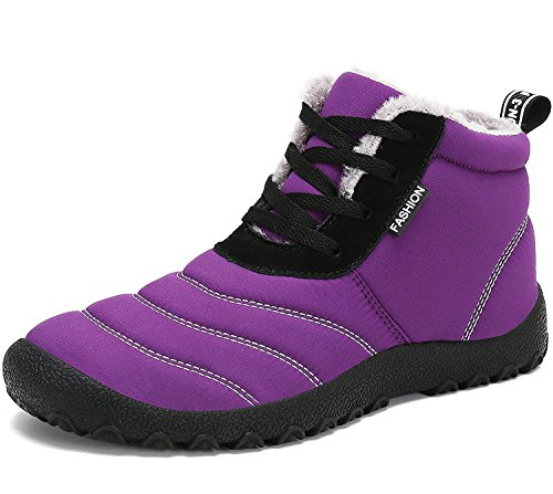 Maybest Warm Winter Spring Snow Boots Anti-Slip Ankle Outdoor Boots Waterproof Thickening Shoes Flat For Men Unisex Purple 5 B (M) US
