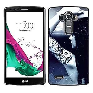 // PHONE CASE GIFT // Duro Estuche protector PC Cáscara Plástico Carcasa Funda Hard Protective Case for LG G4 / Awsome Tattoo Girl /