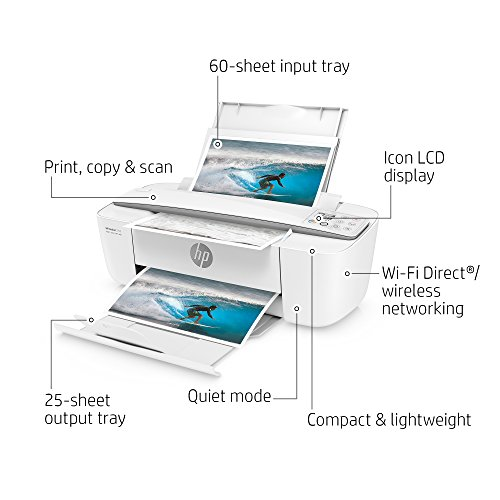 HP DeskJet 3755 Compact All-in-One Wireless Printer with Mobile Printing, HP Instant Ink & Amazon Dash Replenishment ready - Stone Accent (J9V91A) by HP (Image #1)