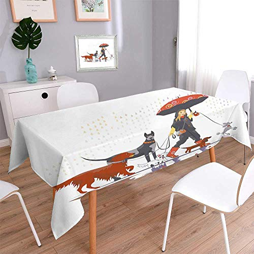 PINAFORE HOME Oblonge Table Cloth for Kitchen Tables Girl Dog Walker Table Cover for Dining Room and Party/Oblong, 60 x 120 Inch -