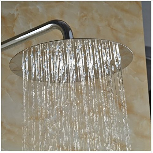 Gowe Wall Mounted 12-in Round Shower Set Bathroom Chorme Polish Faucet Mixer Faucet 1