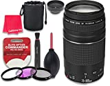 Canon EF 75–300mm f/4–5.6 III Lens for Canon DSLR Cameras + 3pc Filter Kit (UV, FLD, CPL) + 3pc Accessory Kit + Celltime Cleaning Cloth - International Version (No Warranty)