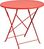 SuperDiscountMall Premium Quality 30'' Coral Folding Patio Table CO-4-RED-GG