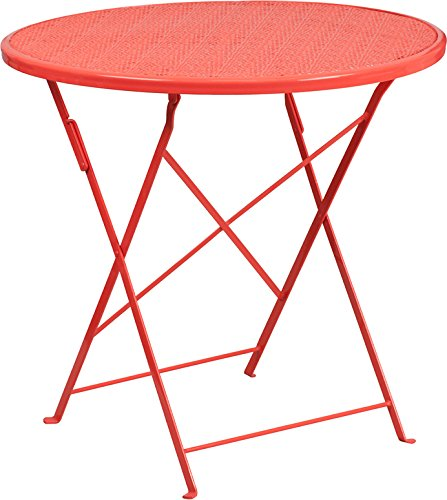 Westbury Round 30'' Coral Steel Folding Table, 28''H
