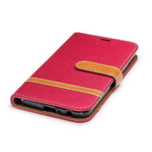 Trumpshop Smartphone Carcasa Funda Protección para Motorola Moto G5 Plus [Azul] Estilo Vaquero PU Cuero Caja Protector Billetera Choque Absorción Rojo