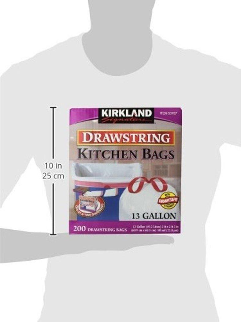 Amazon.com: Kirkland Signature Drawstring Kitchen Trash Bags - 13 ...