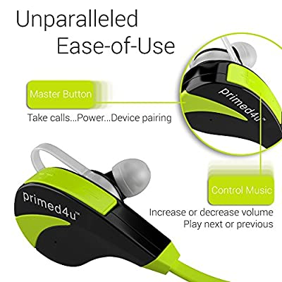 Primed4U [Novelty Series Bluetooth Wireless Headphones and Headsets] In Ear Stereo Sport Earphones with Built-in Mic [iPhone Android, Multiple Colors]