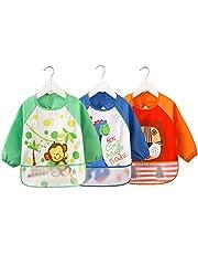 3er Pack ÄrmelLätzchen Wasserdicht Baby lätzchen - Essen und Play Smock Schürze für Kleinkinder von 6-36 Monate