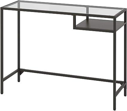 IKEA ASIA VITTSJO - Mesa para portátil (cristal negro), color marrón