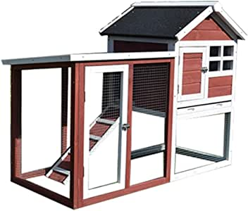 Pet Cage Outdoor Double Rainproof Rabbit Cage Pet House with Stairs Pull-Out Tray Plexiglass Window Anti-Corrosion and Sun Protection (Color : Brown, Size : 122 * 62 * 93cm)