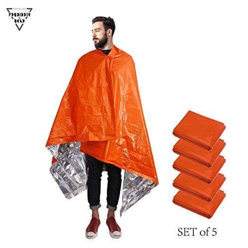 Forbidden Road Emergency Heated Blankets 3 Types First Aid Warm Fleece Blanket Thermal Survival Bag Gold Sliver Orange (Orange - set of 5 units) (Orange - set of 5 units)