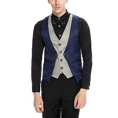 017a0945c6007 Hommes Mens Costume Blazer Gilet Costume Contraste Couleur Retro De ...