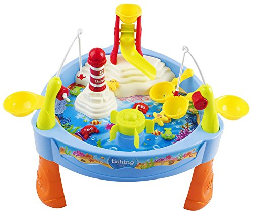 Toy Fishing Game Fish 'n Splash Water Pond Swirl With Music Table Fishing Game for Toddler Kids w/ Fishing Rods, Lights (Light Bath Cast Two)