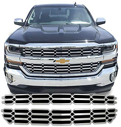 - CoolCar-auto Fits for 2016-2018 Chevy Silverado 1500 Chrome Grille Overlay Snap On Insert