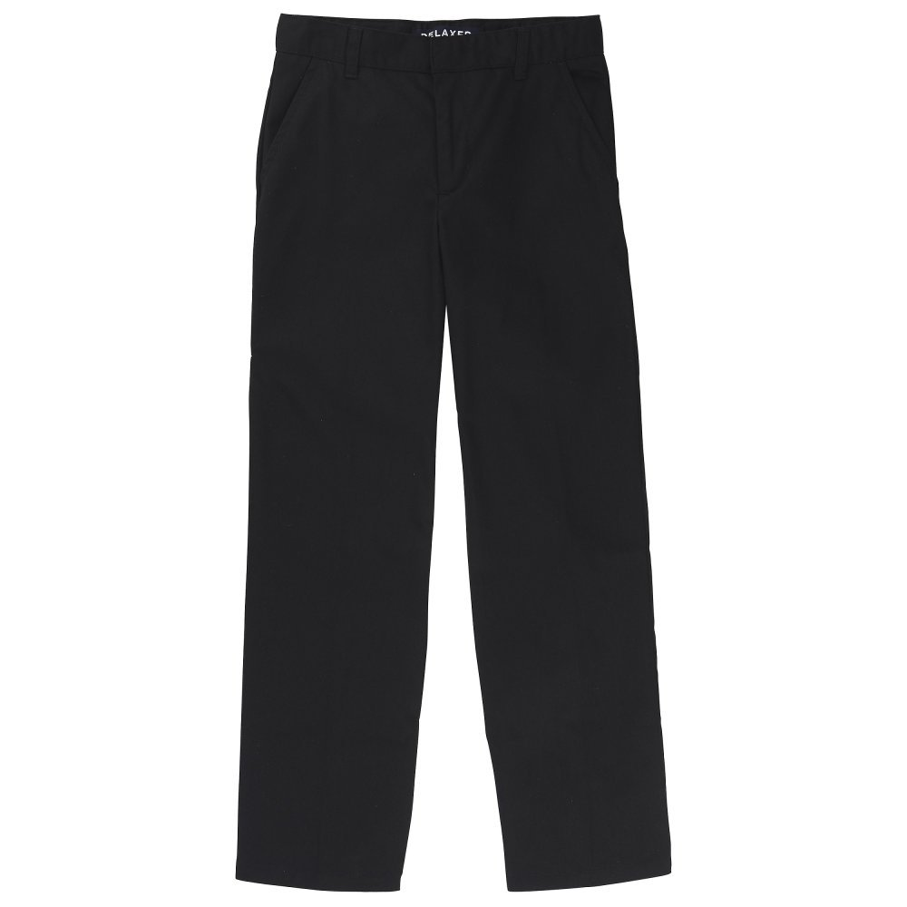 French Toast Boys' Husky Relaxed Fit Twill Pant, Black 18H