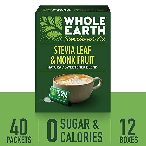WHOLE EARTH SWEETENER Stevia Leaf and Monk Fruit Sweetener, Erythritol Sweetener, Sugar Substitute, Zero Calorie Sweetener, 40 Stevia Packets (Pack of 12)