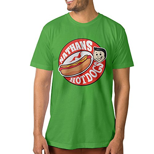 Candi Men's Delicious Nathan's Hot Dog Tshirt T Shirt New Style Casual KellyGreen Size M -