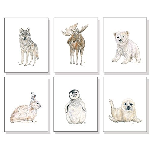 Arctic Nursery Art Prints Set of 6, Baby Animal Watercolors, Childrens Room Wall Decor, Polar Bear Penguin Seal Wolf Moose Bunny - Moose Portrait