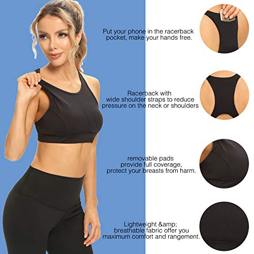Ultrafun Women Sports Bra Lightweight Wirefree Padded Running Yoga Bra with Back Phone Pocket for Tennis Workout Gym (Black, X-Small)