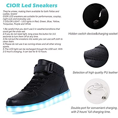 Amazon.com | CIOR Kids Boy and Girl's High Top LED Sneakers Light Up  Flashing Shoes(Toddler/Little Kid/Big Kid) | Sneakers