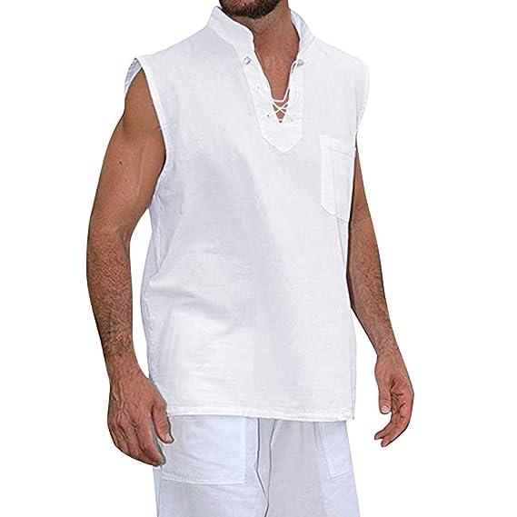 Vectry Moda Hombre Verano Delgado Casual Algodón Lino Camisa ...