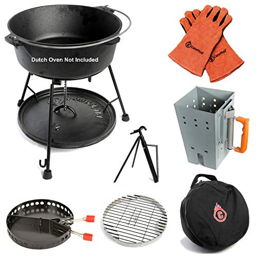 7-Piece Dutch Oven Tool Set - Award Winning Accessories Turn Your Cast Iron Pots Into a Grill, Smoker & Griddle - Lid Lifter, Charcoal Holder, Lid Stand, Charcoal Chimney, Trivet, Carry Case by CampMaid