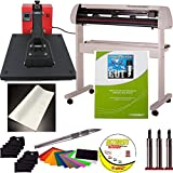 """USCutter 25"""" Vinyl Cutter with Laserpoint and 15"""" x 15"""" Clamshell Heat Press Transfer Bundle"""