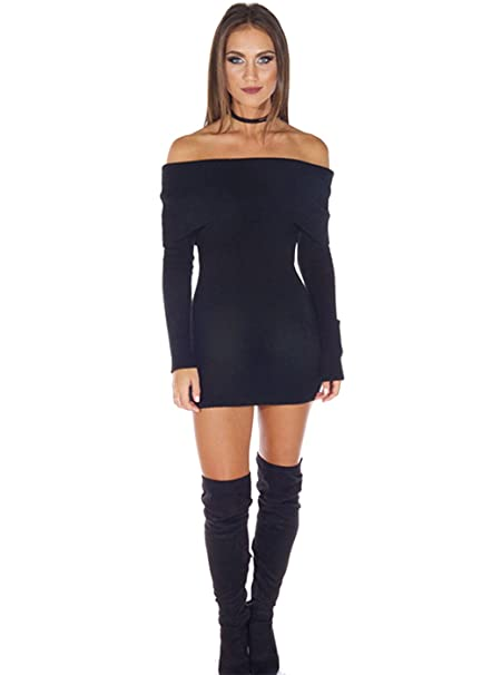 dbf4375ee58 Oufeisha Womens Sexy Long Sleeve Off Shoulder Bodycon Pecil Black Sweater  Dress at Amazon Women s Clothing store