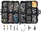 Fishing Accessories Kit 160pcs Including Hooks Sinkers Bullet Bass Casting Sinker Weights 4 Different Fishing Swivels Snaps Fishing Line Beads Fishing Accessories Set with Tackle Box