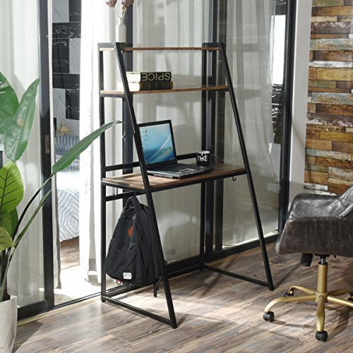 Modern Bookshelf Design - Aingoo Computer Writing Desk Sturdy Office Laptop Table with 2-Tier Bookshelf Leaning Ladder Bookcase Modern Simple Design for Home Office Use,Dark Brown