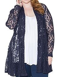 AMZ PLUS Women's Loose Lace Cardigan Coat Navy Blue XL