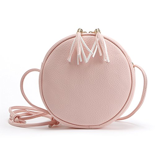 DukeTea Small Circular Crossbody Purse for Teen Girls, Mini Crossover Phone Shoulder Bag for Women (Pink)