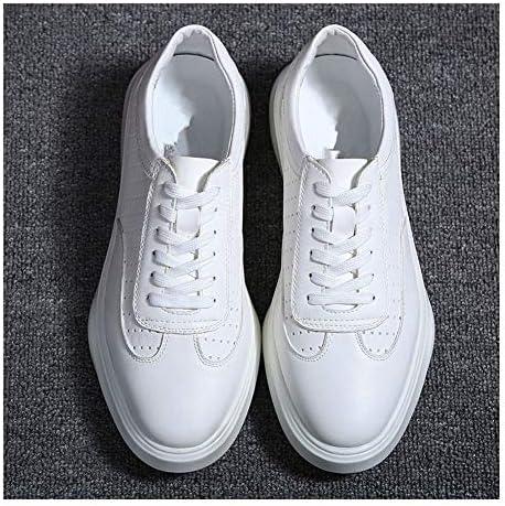 ファッションスニーカーメンズカジュアルウォーキングスケートシューズレースアップラウンドトゥプラットフォーム滑り止め穴あきマイクロファイバーレザーステッチ YueB HAL (Color : 白, サイズ : 25.5 CM)