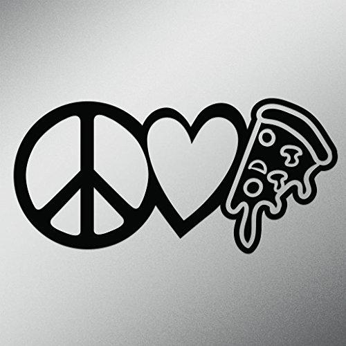 [Peace Love Pizza Vinyl Decal Sticker | Cars Trucks Vans Walls Laptops Cups | Black | 7.5 X 3.6 Inch | KCD1638B] (Blackstone Ninja Costumes)