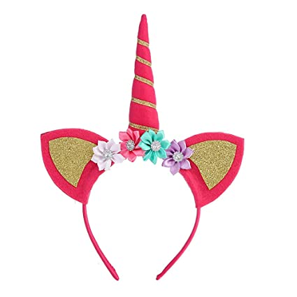 Diadema de unicornio con banda de cumpleaños para niña ...
