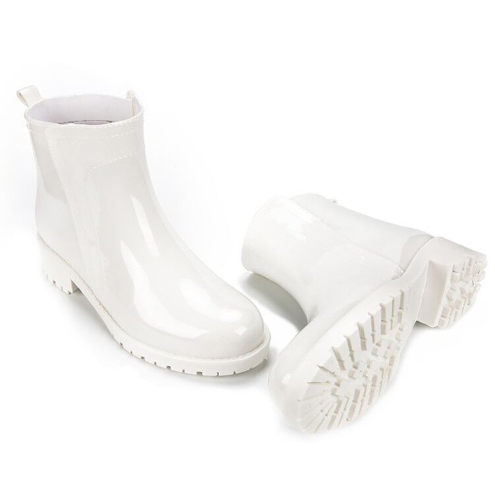 DKSUKO Womens Ankle Short Boots-3 Colors- Waterproof Rainboots Size 5-9 JQX01 (5 B(M) US, White)