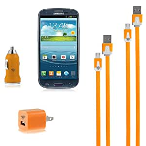 Chromo Inc Wall/Car Charger and 2 Flat (Tangle Free) Micro USB Cables - for Samsung Galaxy S3, Mini, Note, Note 2, Blackberry Z10, Bold, Curve, Motorola Droid Razr, Razr Maxx, Droid X2, Milestone, Milestone X2. Nokia Lumia 920, Lumia 800, HTC One, Vivid, Raider, Evo 3D, Droid Incredible 4G LTE - ORANGE