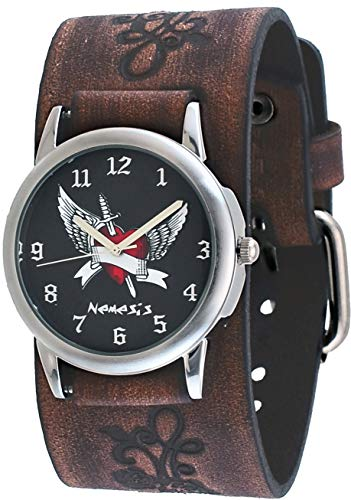 Heart Dial Silver Cuff Watch - Nemesis #BVFB923K Men's Arrow Thru the Heart Floral Pattern Wide Leather Cuff Band Watch