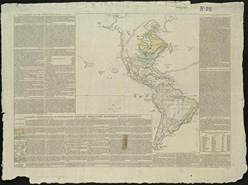 Historic Map | 1806 GeI?ographie de l'AmeI?rique | Antique Vintage Reproduction by historic pictoric